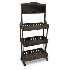 Wooden Picket Fence Display Shelf with Chalkboard