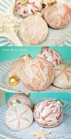 Beautiful nautical DIY Christmas ornaments made with Mod Podge - wouldn't these look amazing on a coastal themed tree?