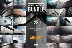 20+ Photorealistic 3D Wall Logo Mockups PSD