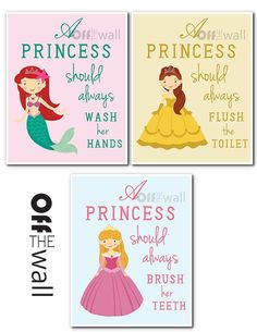 "Princess Bathroom Art Prints - Set of 3 - ""A Princess Should Wash Her Hands, Brush Her Teeth, Flush the Toilet"" Princess Bathroom, Princess Room, Little Princess, Childrens Bathroom, Bathroom Kids, Girl Bathrooms, Bath Girls, Cool Baby Stuff, Kid Stuff"