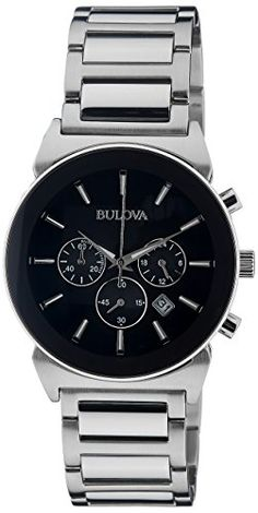 Bulova Men's 96B203 Analog Display Japanese Quartz Silver Watch -- You can get more details by clicking on the image.
