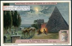 Cowboys Cooking By The Pyramid Of Cestius  1920s Card