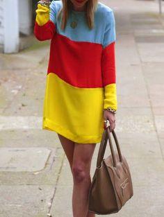 Vestido cuello redondo gasa -multicolor 11.66