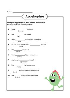 Make apostrophes fun with this unique worksheet! #english #apostrophes #grammar #freeenglishworksheets #punctuation
