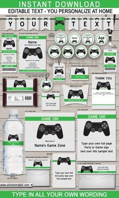 Printable Playstation Birthday Party Invitations & Decorations - Video Game Birthday Party Themes - Editable & Printable templates - INSTANT DOWNLOAD via simonemadeit.com