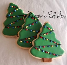 Items similar to One Dozen Christmas Tree With Lights Shaped Sugar Cookies By Papaw's Edibles Christmas Cookies~Christmas Trees~Holiday Cookies~Sugar on Etsy Christmas Cookies Packaging, Christmas Tree Cookies, Cookie Packaging, Cut Out Cookies, Cute Cookies, Christmas Sweets, Christmas Goodies, Holiday Cookies, Christmas Baking