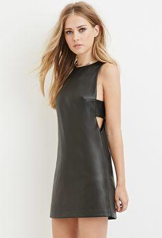 Faux Leather Cutout Dress