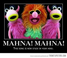 "'""mahna mahna"" how a ditty from a soft-core italian movie became the muppets' catchiest tune' - sam adams, 2011 [slate magazine article; links to different muppets' versions of mahna mahna] Lol, Haha Funny, Hilarious, Funny Stuff, Funny Things, Random Stuff, Random Things, Crazy Funny, Random Facts"