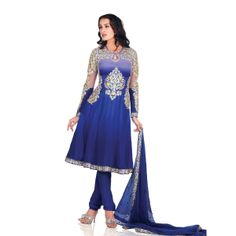 Navy Blue Faux Georgette Salwar Kameez, Buy online at www.readyforshop.com #readyforshop #suit #designersuit