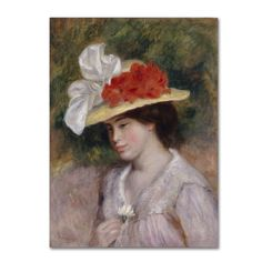 Renoir 'Woman In A Flowered Hat' Canvas Art