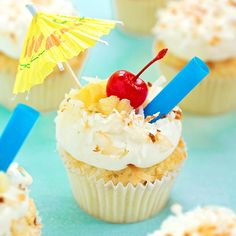 Soft and tender coconut cupcakes topped with a luscious pineapple cream cheese frosting. These tropical piña colada cupcakes are a sweet escape!