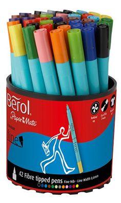 pen pencil 12 Black Berol Pens Broad Felt Tips Washable School Art Drawing Design Comic NEW