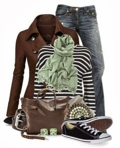Brown jacket, jeans, scarf and shoes combination for fall
