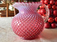 Vintage 1950s Fenton Cranberry Opalescent Hobnail large Pitcher Collectable  on Etsy, $150.00