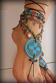 Mandala barefoot sandals Boho anklet Belly Dance foot by FiArt