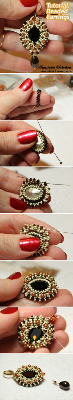 Beaded Earring tutorial using peyote stitch. Photographed tutorial with text… Bead Jewellery, Seed Bead Jewelry, Seed Bead Earrings, Beaded Earrings, Beaded Jewelry, Handmade Jewelry, Ribbon Jewelry, Ideas Joyería, Jewelry Making Tutorials
