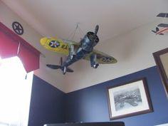 Boys plane room. Lots of hanging planes