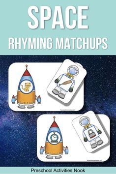 Practice rhyming skills with these rocket and astronaut rhyming matchup cards for a space unit Rhyming Activities, Space Activities, Language Activities, Classroom Activities, Educational Activities, Space Preschool, Preschool Themes, Preschool Printables, Kindergarten Lesson Plans