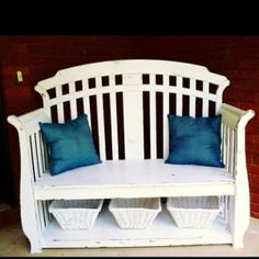 Repurposed crib for the front door bench- we have Scott's old crib, we could totally do this! I am thinking this would be fun for a focal point out side to put all my potted plants around/on too.