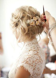 Wedding Hair Flowers, Wedding Hair And Makeup, Lace Flowers, Flowers In Hair, Bridal Hair, Wedding Dresses, Hair Wedding, Fresh Flowers, Hairstyle Wedding