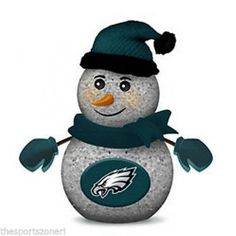 Philadelphia Eagles Light Up Tabletop Snowman Visit our website for more: www.thesportszoneri.com