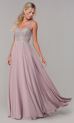 Shop prom dresses and long gowns for prom at Simply Dresses. Floor-length evening dresses, prom gowns, short prom dresses, and long formal dresses for prom. Mauve Prom Dress, V Neck Prom Dresses, Grad Dresses, Pageant Dresses, Bridesmaid Dresses, Formal Dresses, Party Dresses, Beaded Prom Dress, Prom Gowns