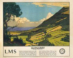 Glenariff, County Antrim, Northern Ireland by Norman Wilkinson, Irish Art Travel Poster, Posters Uk, Train Posters, Railway Posters, Vintage Advertising Posters, Vintage Travel Posters, Poster Vintage, Vintage Art, Vintage Style, British Travel