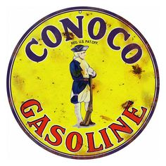 Conoco Gasoline Motor Oil Sign, Vintage Aged Style Aluminum Metal Sign, 2 Sizes Available, USA Made Vintage Style Retro Garage Art RG
