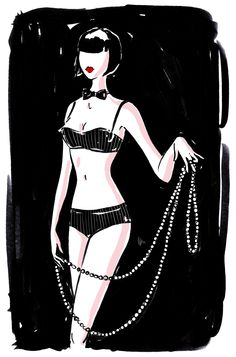 Louise Brooks-Chantal Thomass LuLu pearls tribute for Chantal's sophisticated, sexy and seductive lingerie advertising Lingerie Paris, Lingerie Fine, Seductive Lingerie, Illustration Lingerie, Illustration Mode, Illustrations, Chantal Thomass Lingerie, Pop Art Women, Louise Brooks