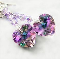 Purple Pink Heart Earrings Sterling Silver Swarovski Amethyst Vitrail Crystal Heart Drop