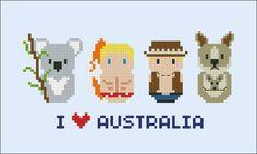 Australia icons Mini people around the world por cloudsfactory