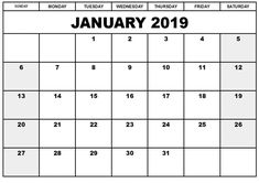 10 Best January 2019 Calendar Printable Images On Pinterest