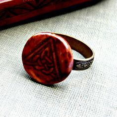 Red Brown Celtic Triangle Ceramic Ring by JeraLunaDesigns on Etsy, $16.00