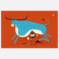 Love this Paul Bunyan and Babe the Blue Ox print from Little Friends of Printmaking. On sale on Fab!