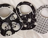 Punk Rock Baby Bibs - Back in Black Skulls - set of 3 bibs