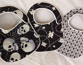 Punk Rock Baby Bibs - Back in Black Skulls - set of 3 bibs