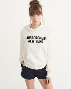 A&F Women's Logo Graphic Hoodie in Cream/White - Size M