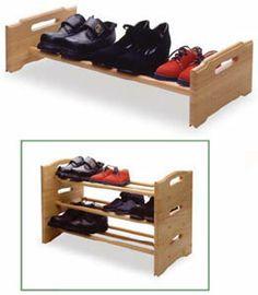 shoe racks for closets | ... > Closet > Shoe Storage > Shoe Racks > Stackable Beechwood Shoe Rack