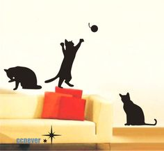Cute 3 Cats Kitten palying----Removable Graphic Art wall decals stickers home decor Franki's room.