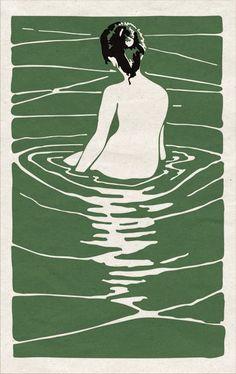 woman naked green water illustration, ilustracion, print - sotobosques- modify for aquarius? Gravure Illustration, Art And Illustration, Wow Art, Art Graphique, Linocut Prints, Asian Art, Japanese Art, Art Inspo, Printmaking
