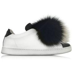 Joshua Sanders Shoes Black White Leather and Fur Pompon Sneaker (€605) ❤ 25e10841c17