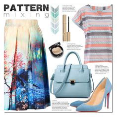 """""""Pattern Mixing"""" by jecakns ❤ liked on Polyvore featuring Christian Louboutin, Stila, outfit, print, striped and patternmixing"""