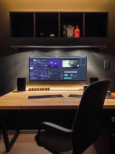 Computer Desk Setup, Gaming Room Setup, Pc Desk, Gaming Desk, Workspace Design, Office Interior Design, Office Interiors, Office Designs, Home Office Setup