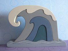 Kids Wooden Toy Stacker Big Waves 2 OOAK by MomNmee on Etsy