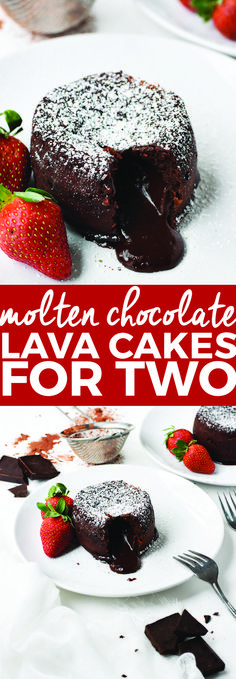 Chocolate Lava Cakes for Two Molten Chocolate Lava Cakes for Two Valentine s Day desserts molten lava cakes chocolate dessert recipes small portion desserts easy dessert. Small Desserts, Easy Desserts, Delicious Desserts, Dessert Recipes, Fun Recipes, Delicious Chocolate, Diet Desserts, Chocolate Lava Cake, Chocolate Desserts