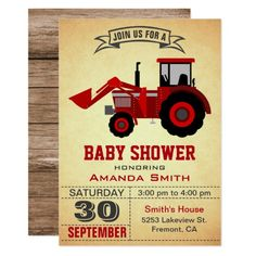 Shop Red Farm Tractor Kids Birthday Party Invitation created by ShabzDesigns. Personalize it with photos & text or purchase as is! Red Tractor Birthday, Boy First Birthday, First Birthday Parties, First Birthdays, Birthday Ideas, Farm Birthday, 1st Birthday Party Invitations, Baby Shower Invitations, Tractor Baby Shower