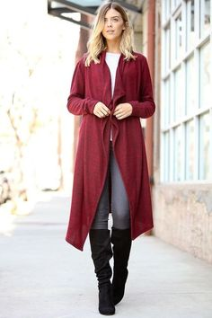 Open Front Burgundy Cardigan | Maxi cardigan, Getting cozy and Sleeve