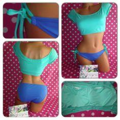 New L Victoria Secret Short Sleeve Rashguard Crop Bikini Top String Bottoms Set   eBay