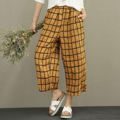 "Material: ramie Length: calf-length Popular elements: lattice,pocket Style: commuter,literature Waist:natural waist Season:spring,summer,autumn Color:yellow lattice One Size Fit S/M(EU Length: cm/ ""Waist: cm/ cm/ ""Leg opening: cm/ Loose Pants, Wide Leg Pants, Dedicated Follower Of Fashion, Gypsy Women, Plus Size Pants, Jumpsuits For Women, Fashion Pants, What To Wear, Clothes For Women"