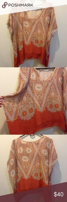 Maeve Anthropologie Silk Paisley Tunic Blouse Maeve by Anthropologie- orange with paisley print all over - made of silk and has a lined inside shirt. Worn a few times and is super cute with ANYTHING! Anthropologie Tops Blouses